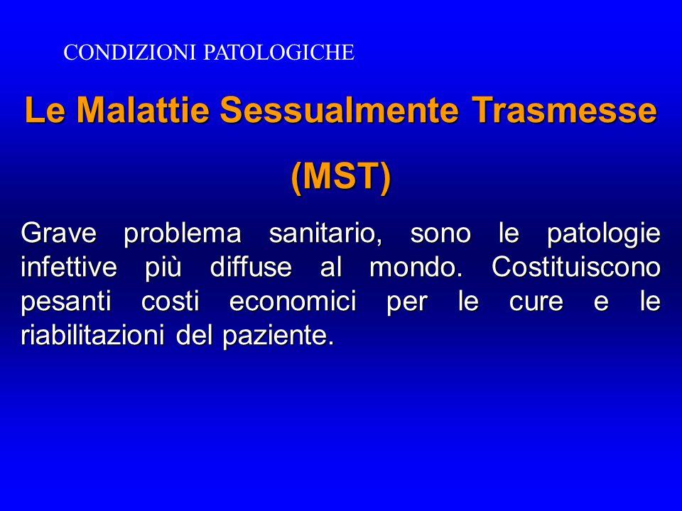 Le Malattie Sessualmente Trasmesse (MST) Grave problema sanitario, sono le patologie infettive più diffuse al mondo. Costituiscono pesanti costi econo