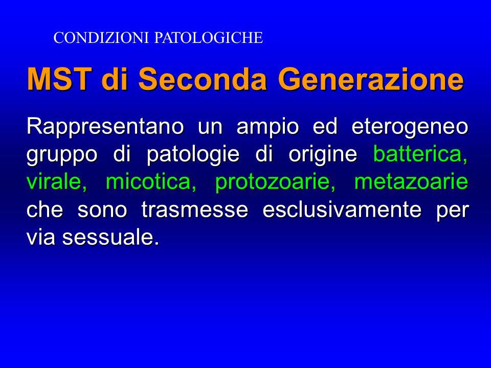 MST di Seconda Generazione Rappresentano un ampio ed eterogeneo gruppo di patologie di origine batterica, virale, micotica, protozoarie, metazoarie che sono trasmesse esclusivamente per via sessuale.