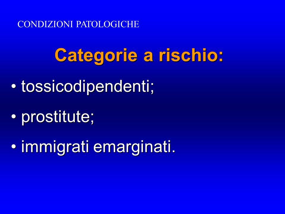 Categorie a rischio: tossicodipendenti; tossicodipendenti; prostitute; prostitute; immigrati emarginati. immigrati emarginati. CONDIZIONI PATOLOGICHE