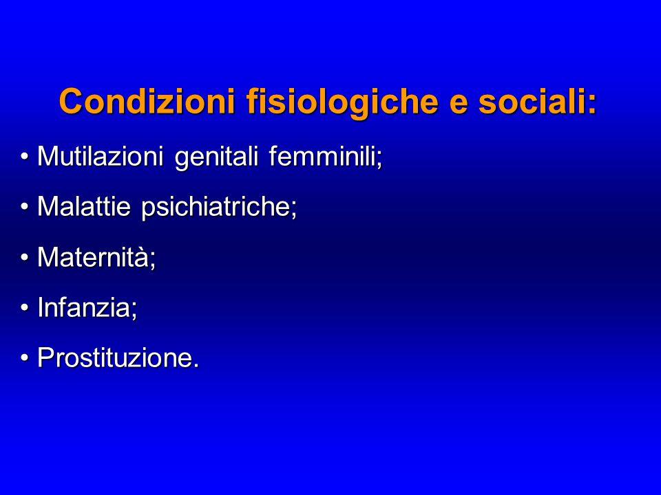 Condizioni fisiologiche e sociali: Mutilazioni genitali femminili; Mutilazioni genitali femminili; Malattie psichiatriche; Malattie psichiatriche; Maternità; Maternità; Infanzia; Infanzia; Prostituzione.