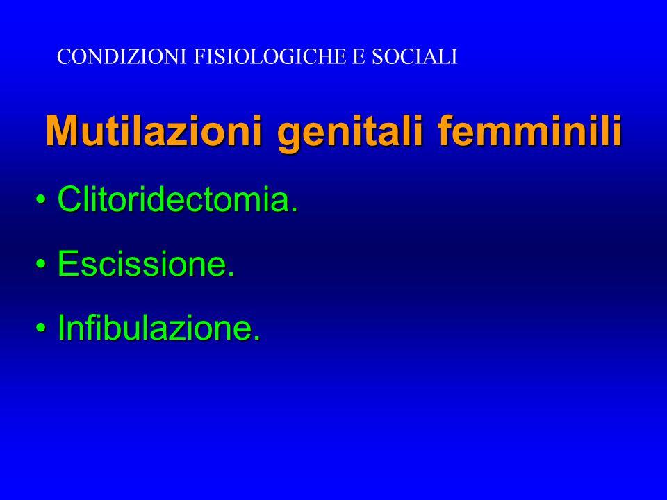 Mutilazioni genitali femminili Clitoridectomia. Clitoridectomia. Escissione. Escissione. Infibulazione. Infibulazione. CONDIZIONI FISIOLOGICHE E SOCIA