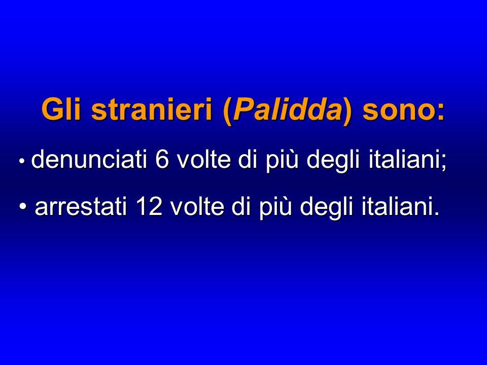 Gli stranieri (Palidda) sono: denunciati 6 volte di più degli italiani; denunciati 6 volte di più degli italiani; arrestati 12 volte di più degli italiani.