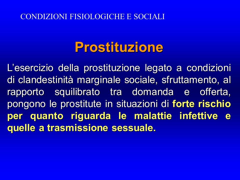Prostituzione L'esercizio della prostituzione legato a condizioni di clandestinità marginale sociale, sfruttamento, al rapporto squilibrato tra domand