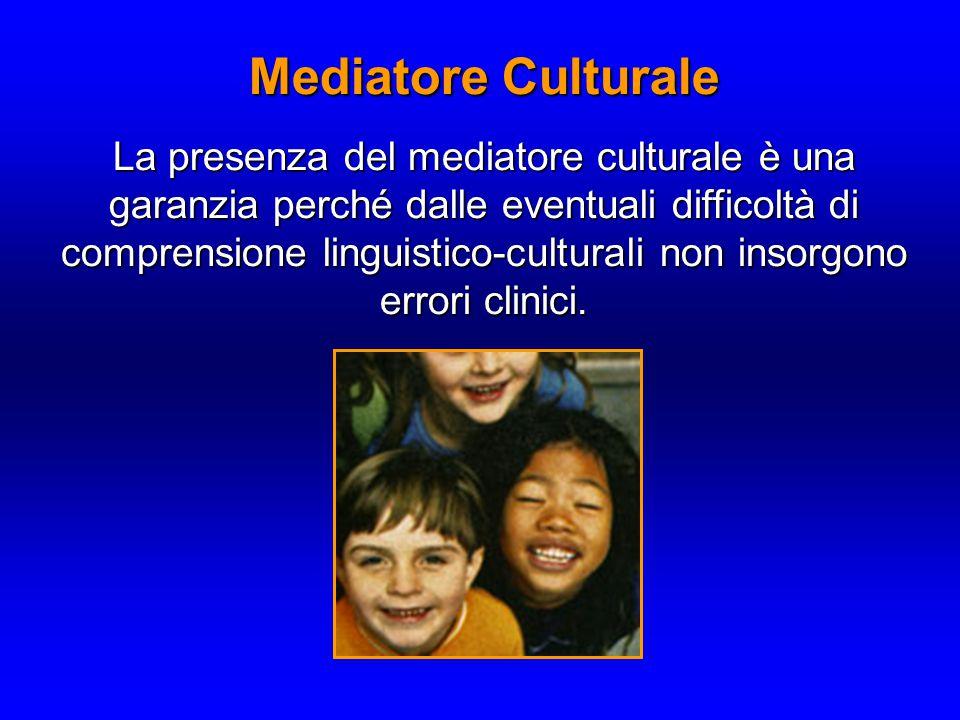 Mediatore Culturale La presenza del mediatore culturale è una garanzia perché dalle eventuali difficoltà di comprensione linguistico-culturali non insorgono errori clinici.