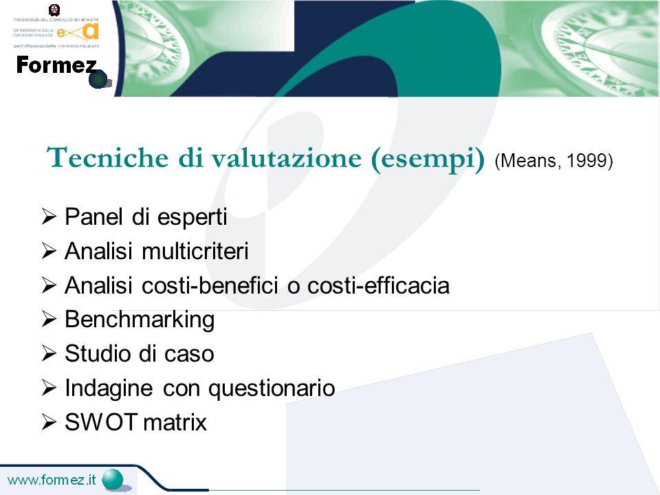 Tecniche di valutazione (esempi) (Means, 1999)  Panel di esperti  Analisi multicriteri  Analisi costi-benefici o costi-efficacia  Benchmarking  Studio di caso  Indagine con questionario  SWOT matrix
