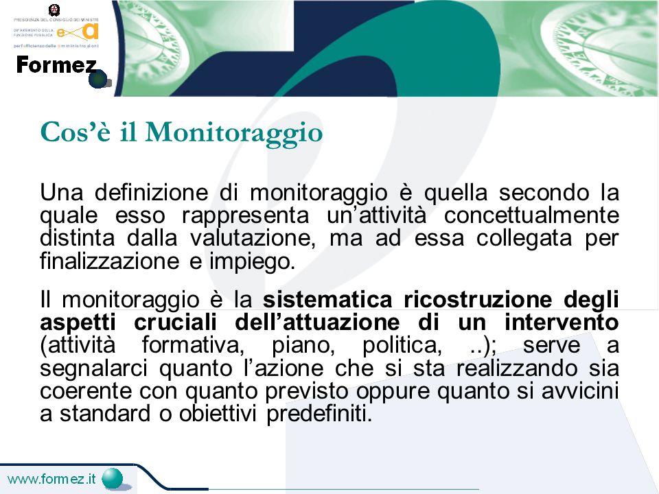 Cos'è il Monitoraggio Una definizione di monitoraggio è quella secondo la quale esso rappresenta un'attività concettualmente distinta dalla valutazione, ma ad essa collegata per finalizzazione e impiego.