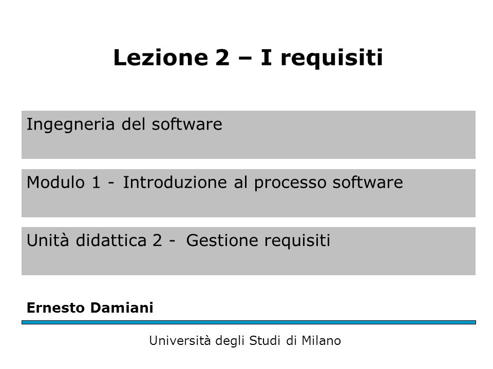 Ingegneria del software Modulo 1 -Introduzione al processo software Unità didattica 2 -Gestione requisiti Ernesto Damiani Università degli Studi di Milano Lezione 2 – I requisiti