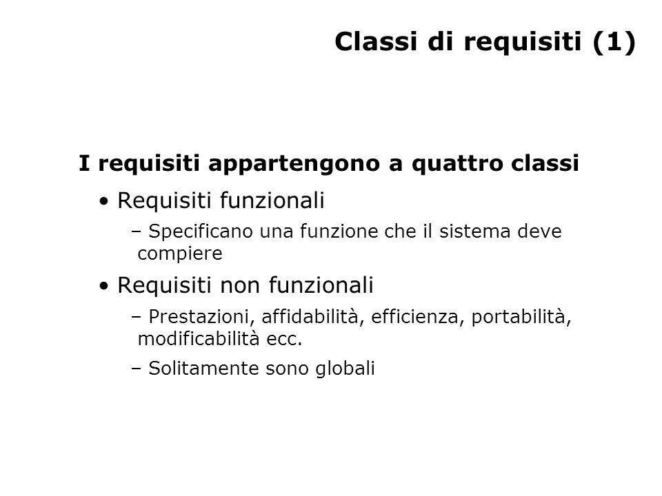 Classi di requisiti (1) I requisiti appartengono a quattro classi Requisiti funzionali – Specificano una funzione che il sistema deve compiere Requisiti non funzionali – Prestazioni, affidabilità, efficienza, portabilità, modificabilità ecc.