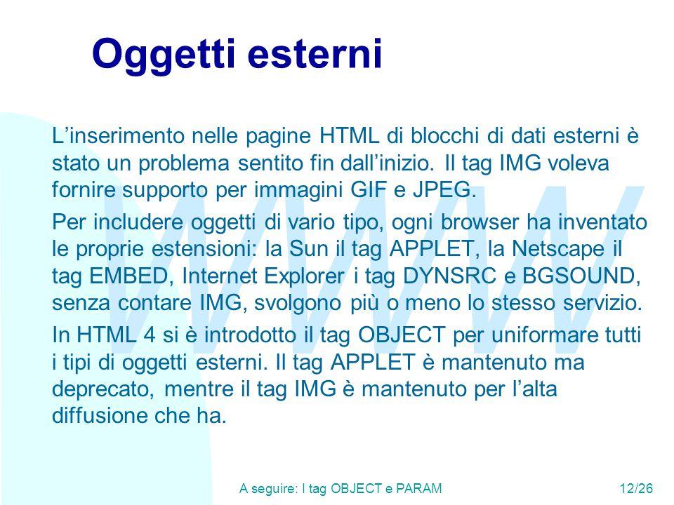 WWW A seguire: I tag OBJECT e PARAM12/26 Oggetti esterni L'inserimento nelle pagine HTML di blocchi di dati esterni è stato un problema sentito fin dall'inizio.