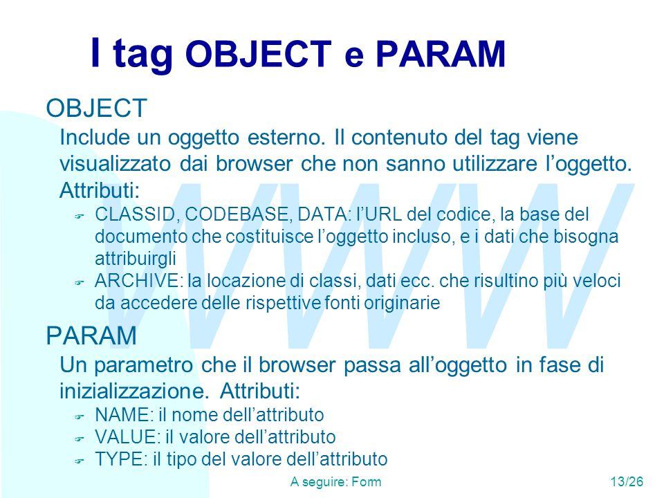 WWW A seguire: Form13/26 I tag OBJECT e PARAM OBJECT Include un oggetto esterno.