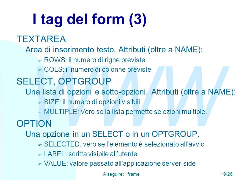WWW A seguire: I frame19/26 I tag del form (3) TEXTAREA Area di inserimento testo.