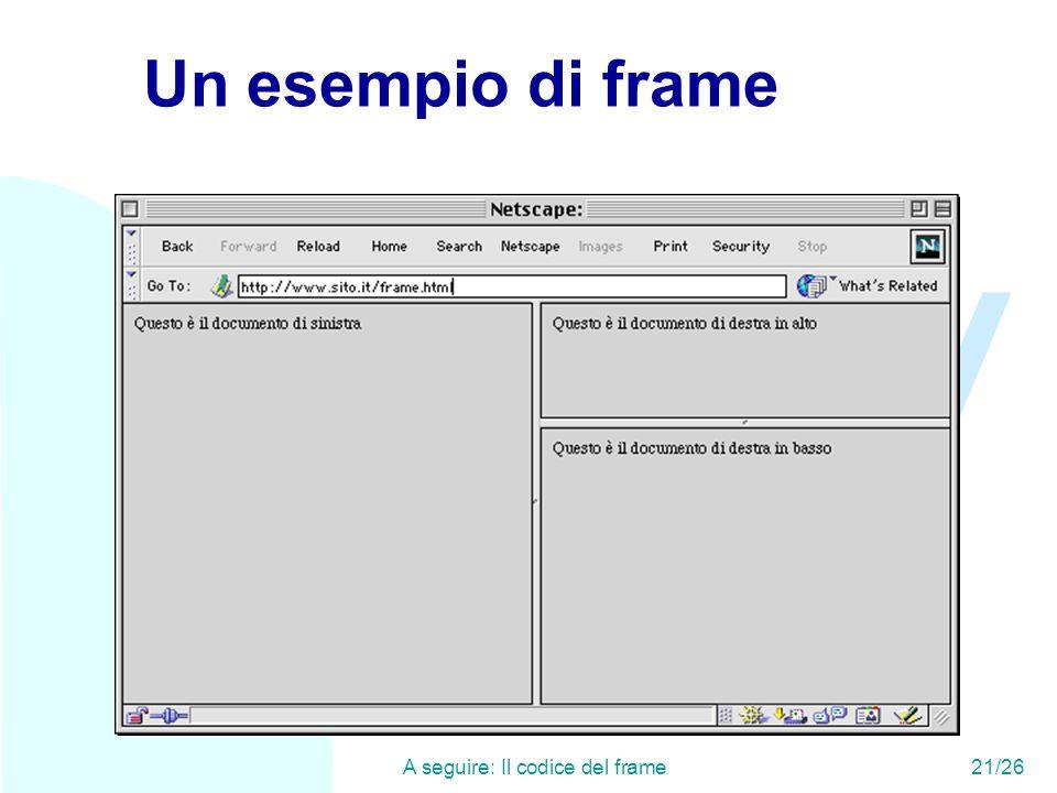 WWW A seguire: Il codice del frame21/26 Un esempio di frame