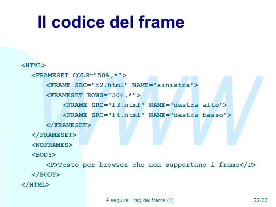 WWW A seguire: I tag dei frame (1)22/26 Il codice del frame Testo per browser che non supportano i frame
