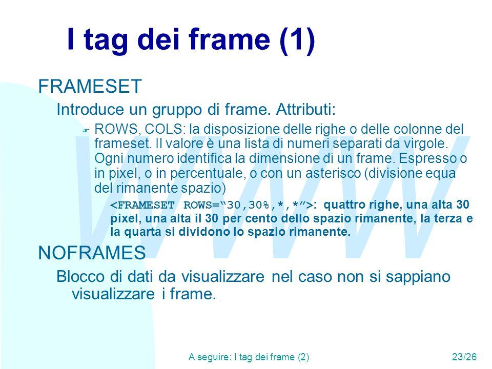 WWW A seguire: I tag dei frame (2)23/26 I tag dei frame (1) FRAMESET Introduce un gruppo di frame.