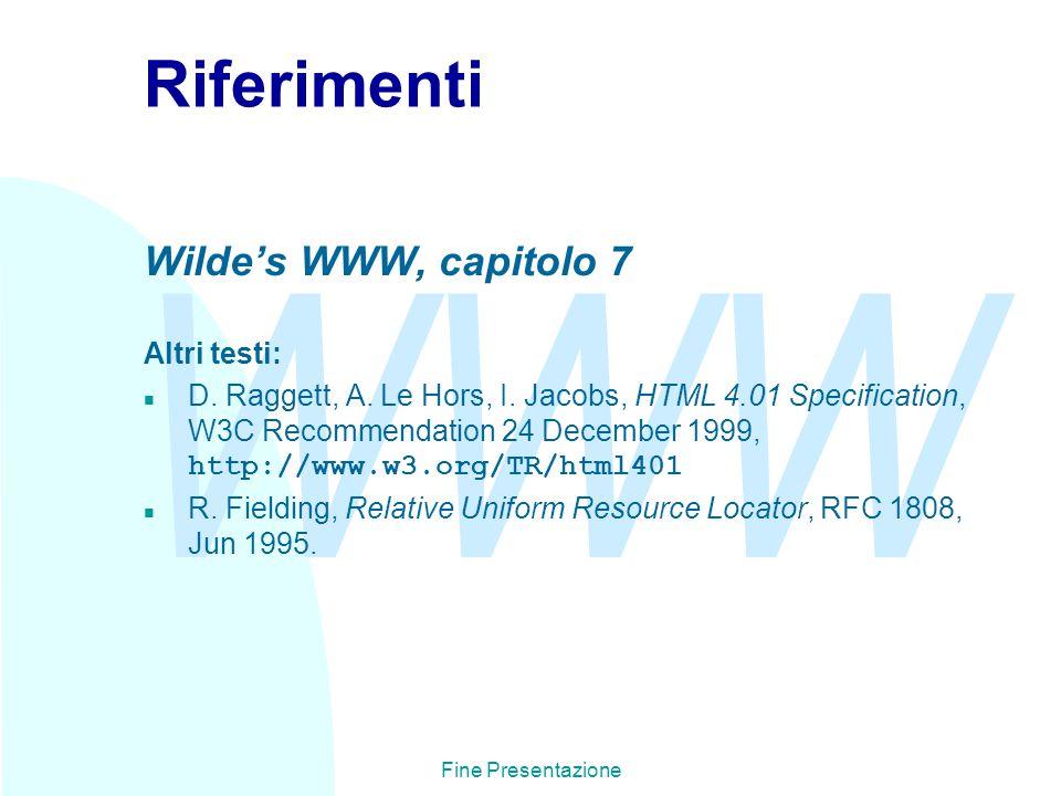 WWW Fine Presentazione Riferimenti Wilde's WWW, capitolo 7 Altri testi: D.