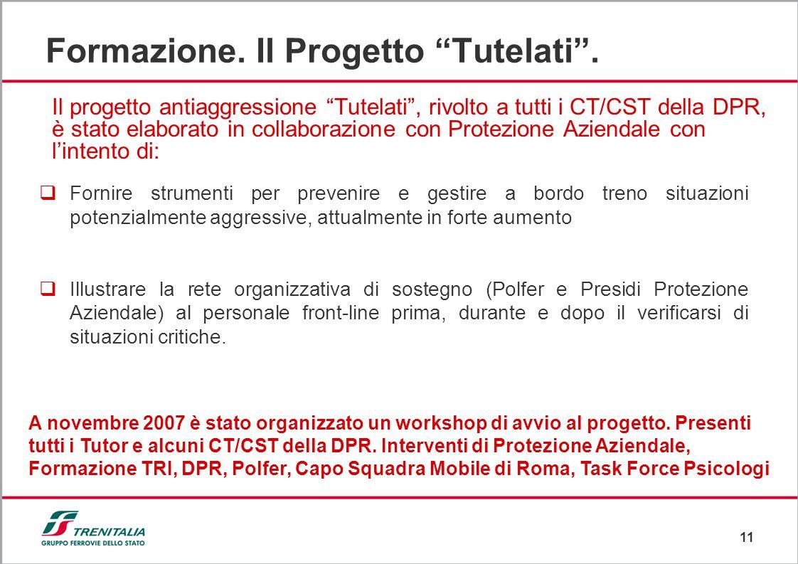 """11 Formazione. Il Progetto """"Tutelati"""". Il progetto antiaggressione """"Tutelati"""", rivolto a tutti i CT/CST della DPR, è stato elaborato in collaborazione"""