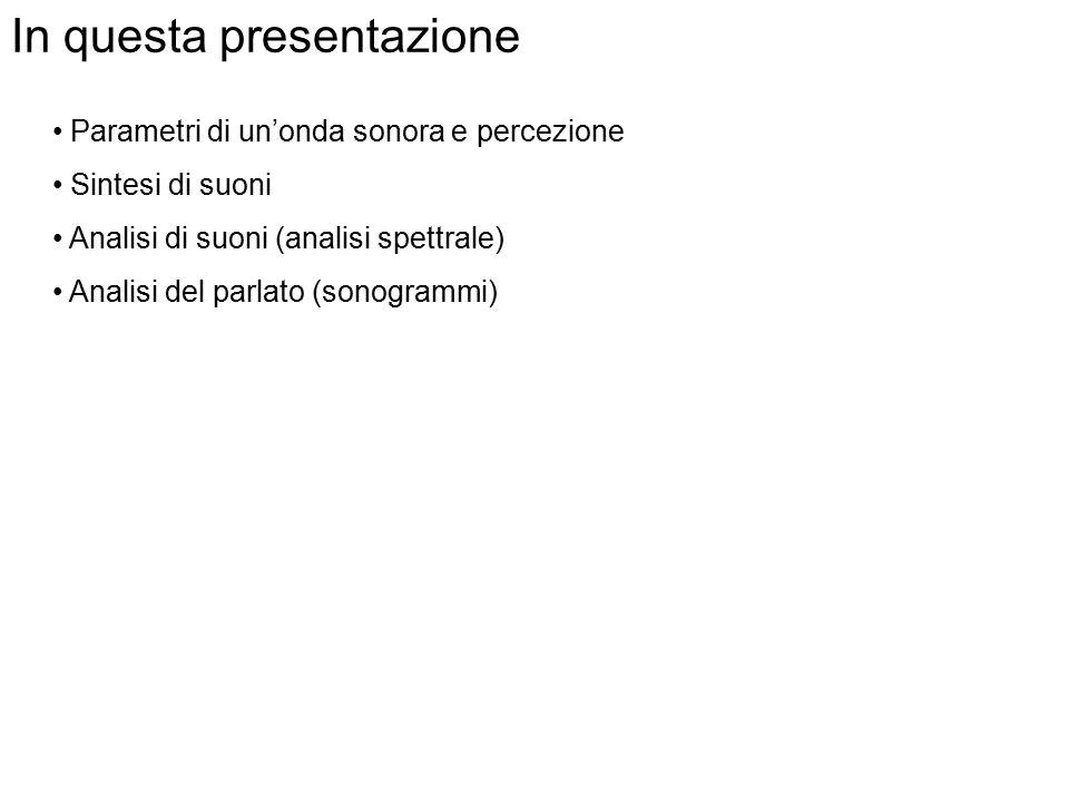 Sintesi ed analisi di suoni concetti di base Nota: La presentazione contiene dei suoni che possono essere ascoltati clickando sulle immagini corrispon