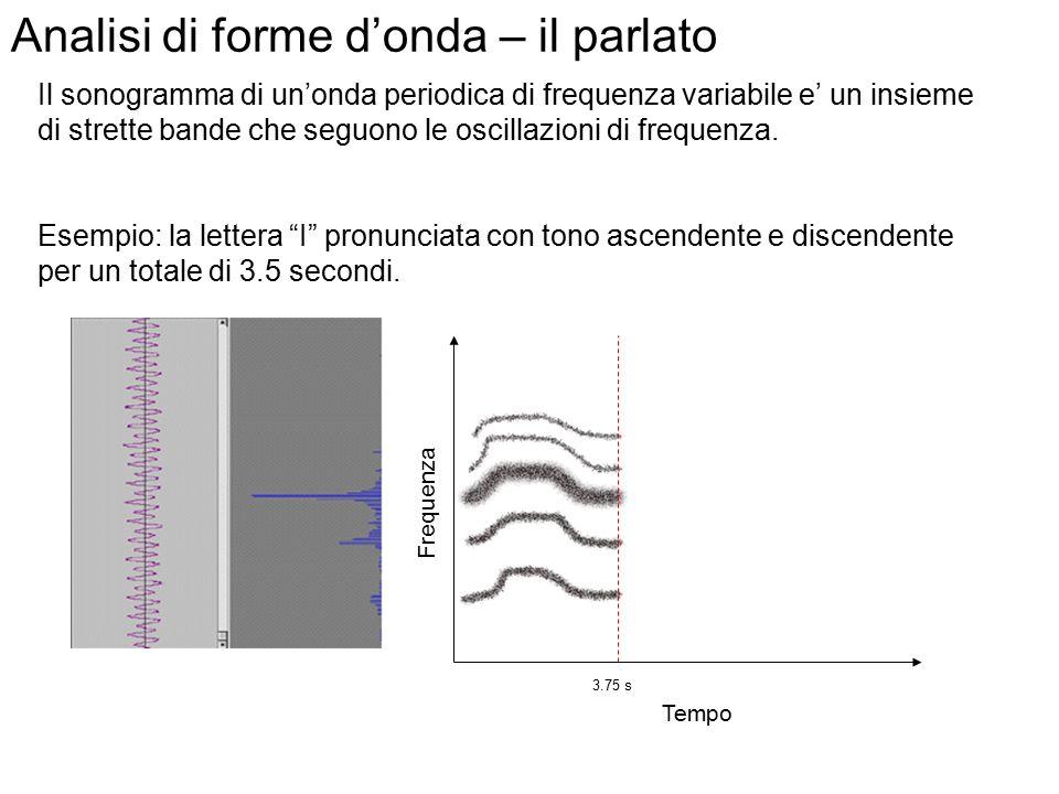 Analisi di forme d'onda – il parlato Il sonogramma di un'onda periodica che si mantiene inalterata nel tempo e' un insieme di bande orizzontali, corri