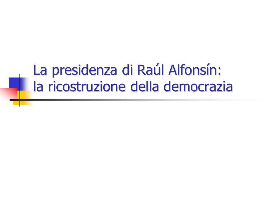 La presidenza di Raúl Alfonsín: la ricostruzione della democrazia