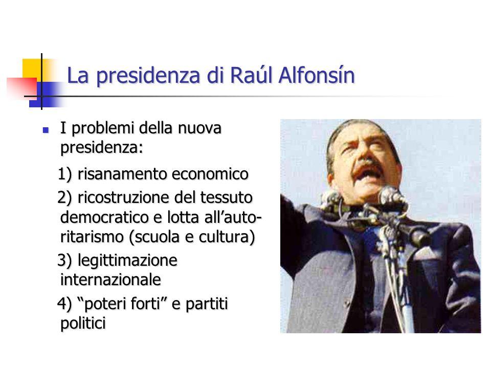 La presidenza di Raúl Alfonsín I problemi della nuova presidenza: I problemi della nuova presidenza: 1) risanamento economico 1) risanamento economico