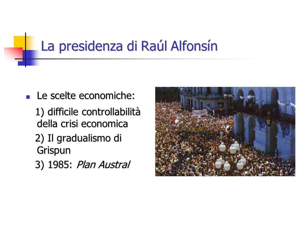 La presidenza di Raúl Alfonsín Le scelte economiche: Le scelte economiche: 1) difficile controllabilità della crisi economica 1) difficile controllabilità della crisi economica 2) Il gradualismo di Grispun 2) Il gradualismo di Grispun 3) 1985: Plan Austral 3) 1985: Plan Austral