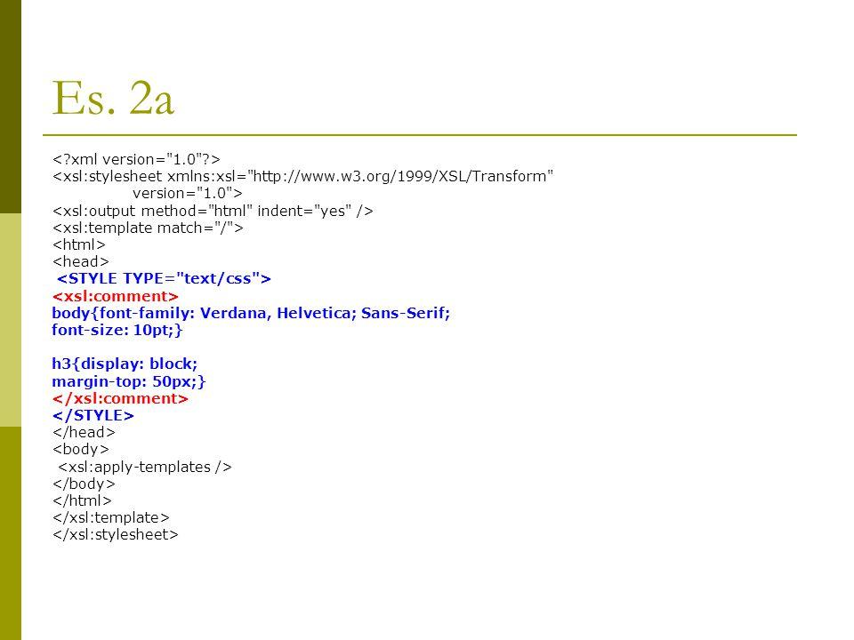 Es. 2a <xsl:stylesheet xmlns:xsl=