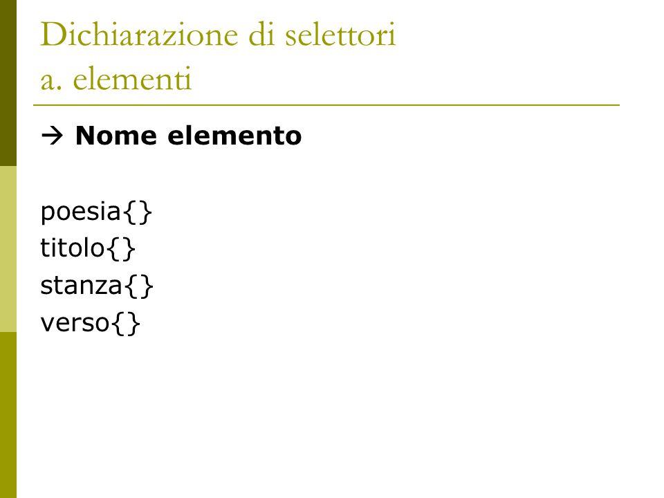 Dichiarazione di selettori a. elementi  Nome elemento poesia{} titolo{} stanza{} verso{}