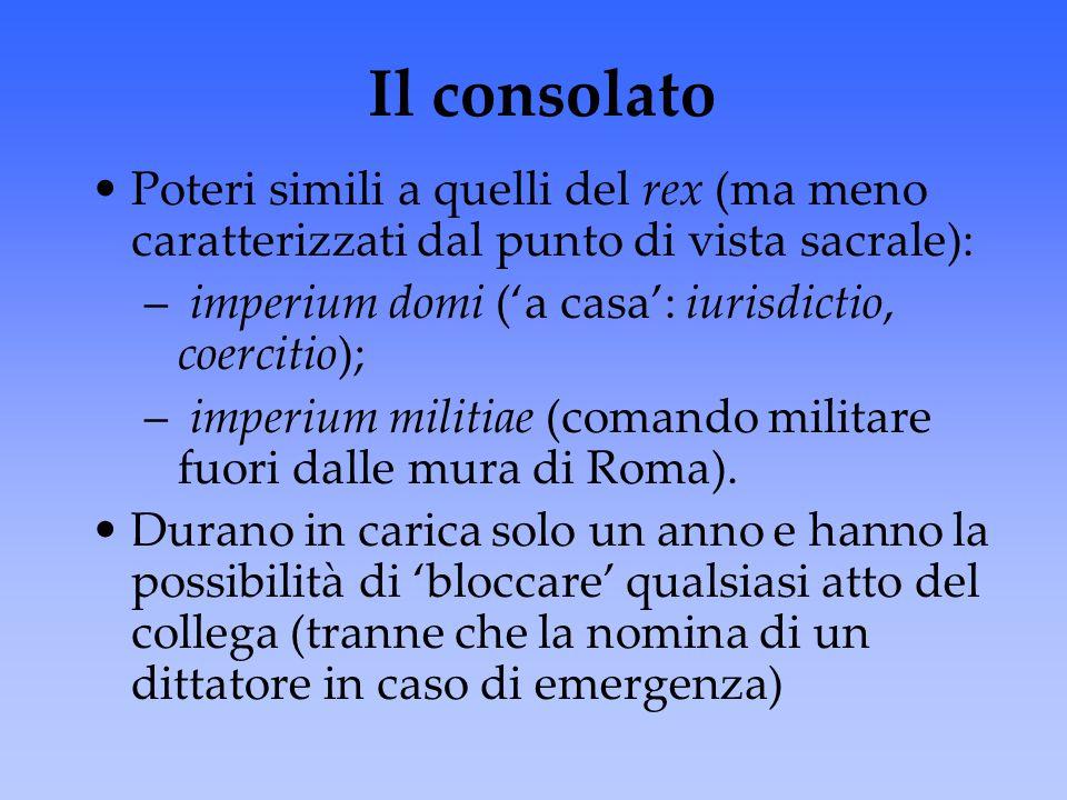 Il consolato Poteri simili a quelli del rex (ma meno caratterizzati dal punto di vista sacrale): – imperium domi ('a casa': iurisdictio, coercitio); –