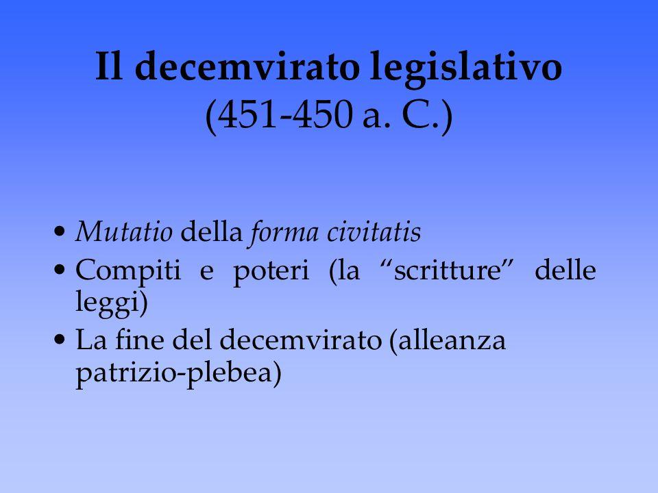 """Mutatio della forma civitatis Compiti e poteri (la """"scritture"""" delle leggi) La fine del decemvirato (alleanza patrizio-plebea) Il decemvirato legislat"""