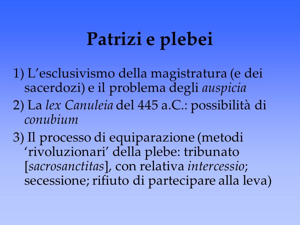 Patrizi e plebei 1) L'esclusivismo della magistratura (e dei sacerdozi) e il problema degli auspicia 2) La lex Canuleia del 445 a.C.: possibilità di c