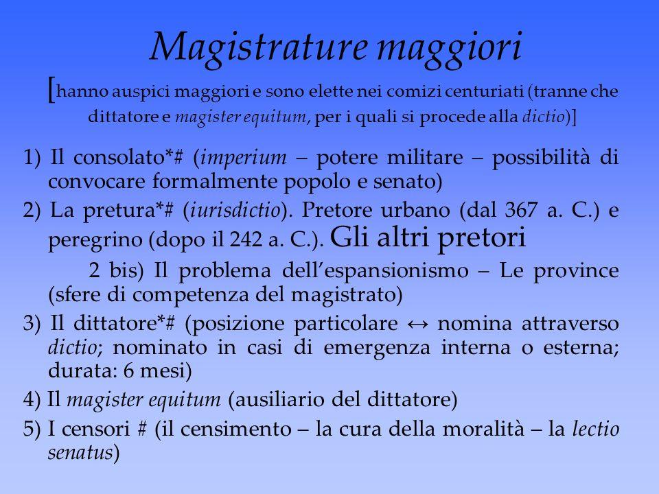 Magistrature maggiori [ hanno auspici maggiori e sono elette nei comizi centuriati (tranne che dittatore e magister equitum, per i quali si procede al