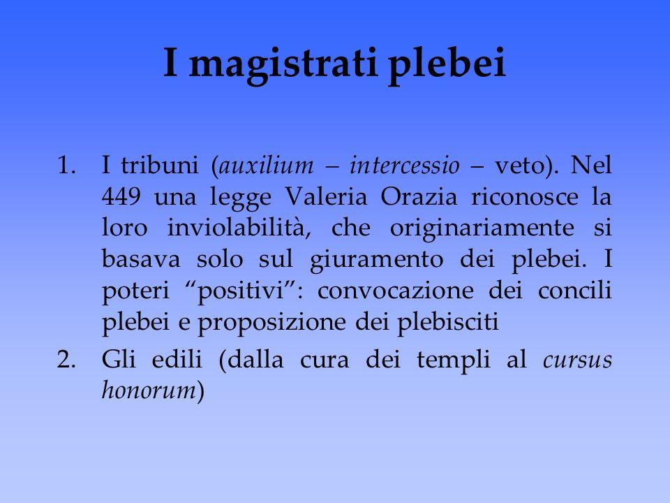 I magistrati plebei 1.I tribuni (auxilium – intercessio – veto). Nel 449 una legge Valeria Orazia riconosce la loro inviolabilità, che originariamente