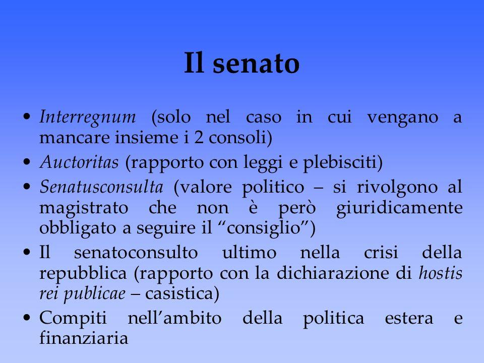 Il senato Interregnum (solo nel caso in cui vengano a mancare insieme i 2 consoli) Auctoritas (rapporto con leggi e plebisciti) Senatusconsulta (valor
