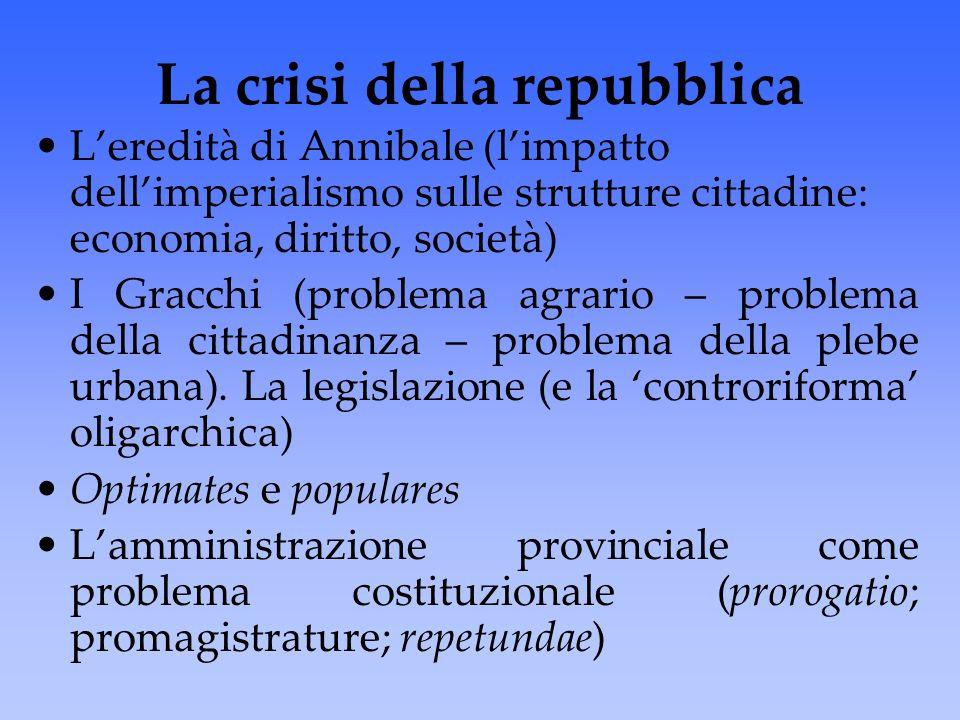 La crisi della repubblica L'eredità di Annibale (l'impatto dell'imperialismo sulle strutture cittadine: economia, diritto, società) I Gracchi (problem