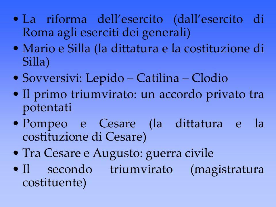 La riforma dell'esercito (dall'esercito di Roma agli eserciti dei generali) Mario e Silla (la dittatura e la costituzione di Silla) Sovversivi: Lepido