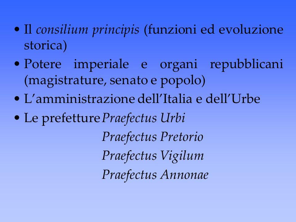 Il consilium principis (funzioni ed evoluzione storica) Potere imperiale e organi repubblicani (magistrature, senato e popolo) L'amministrazione dell'