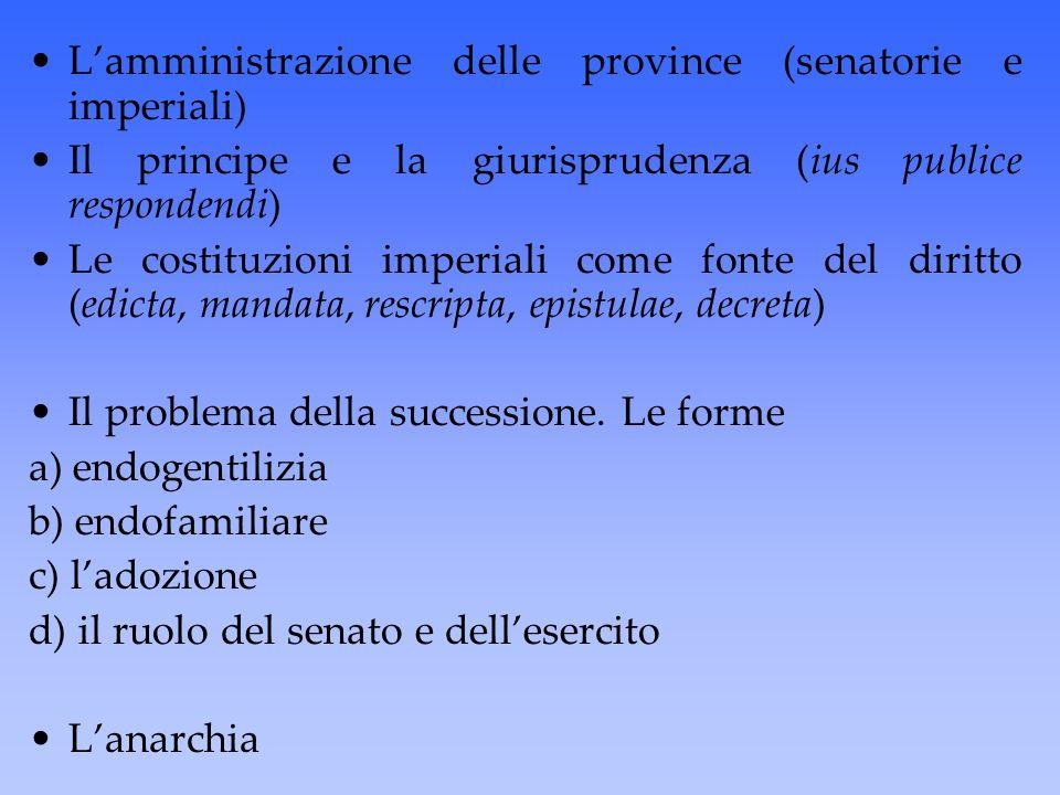 L'amministrazione delle province (senatorie e imperiali) Il principe e la giurisprudenza (ius publice respondendi) Le costituzioni imperiali come font