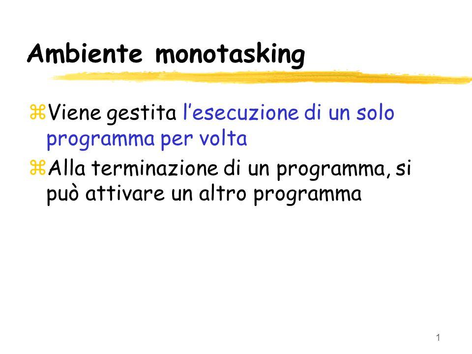1 Ambiente monotasking zViene gestita l'esecuzione di un solo programma per volta zAlla terminazione di un programma, si può attivare un altro programma