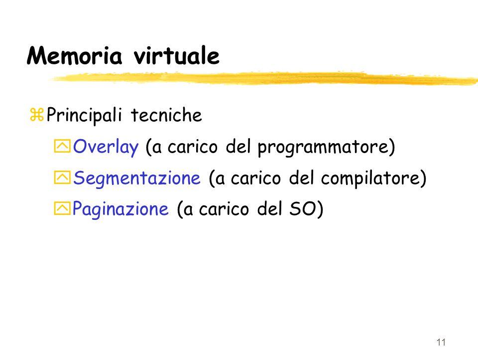 11 Memoria virtuale zPrincipali tecniche yOverlay (a carico del programmatore) ySegmentazione (a carico del compilatore) yPaginazione (a carico del SO)