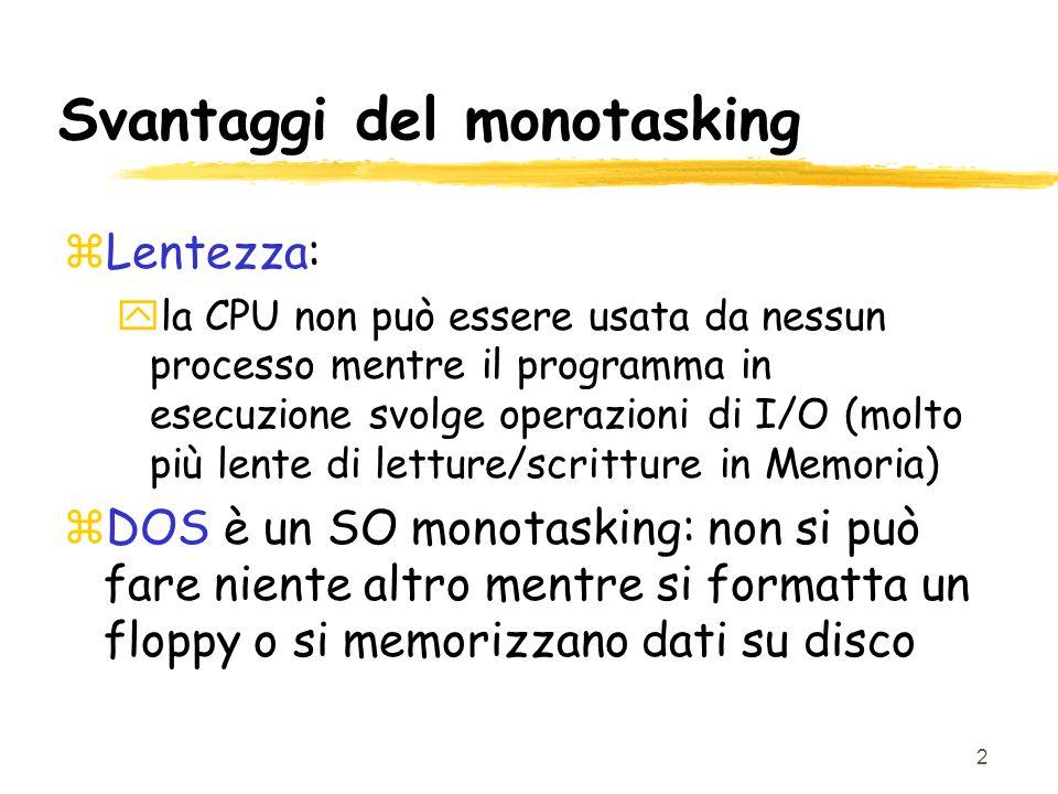 2 Svantaggi del monotasking zLentezza: yla CPU non può essere usata da nessun processo mentre il programma in esecuzione svolge operazioni di I/O (molto più lente di letture/scritture in Memoria) zDOS è un SO monotasking: non si può fare niente altro mentre si formatta un floppy o si memorizzano dati su disco