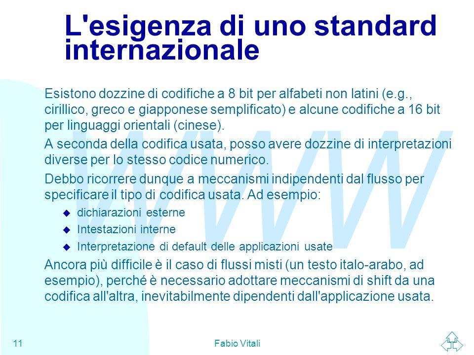 WWW Fabio Vitali11 L'esigenza di uno standard internazionale Esistono dozzine di codifiche a 8 bit per alfabeti non latini (e.g., cirillico, greco e g