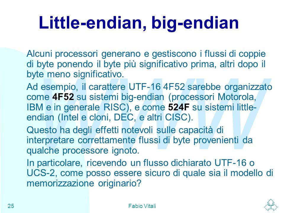 WWW Fabio Vitali25 Little-endian, big-endian Alcuni processori generano e gestiscono i flussi di coppie di byte ponendo il byte più significativo prim