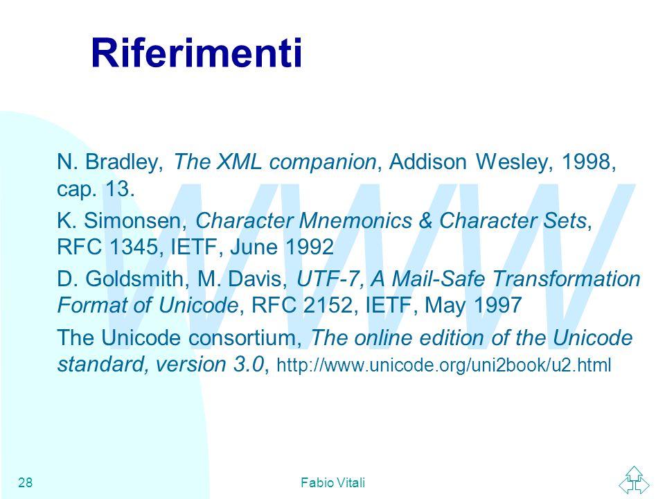 WWW Fabio Vitali28 Riferimenti N. Bradley, The XML companion, Addison Wesley, 1998, cap. 13. K. Simonsen, Character Mnemonics & Character Sets, RFC 13