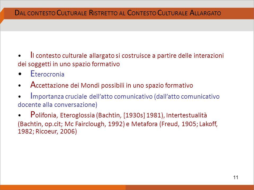 11 D AL CONTESTO C ULTURALE R ISTRETTO AL C ONTESTO C ULTURALE A LLARGATO I l contesto culturale allargato si costruisce a partire delle interazioni d