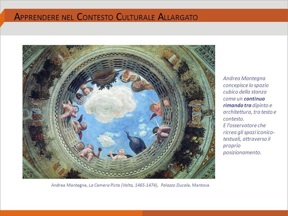 Andrea Mantegna concepisce lo spazio cubico della stanza come un continuo rimando tra dipinto e architettura, tra testo e contesto. E l'osservatore ch