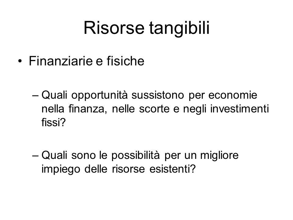 Risorse tangibili Finanziarie e fisiche –Quali opportunità sussistono per economie nella finanza, nelle scorte e negli investimenti fissi? –Quali sono