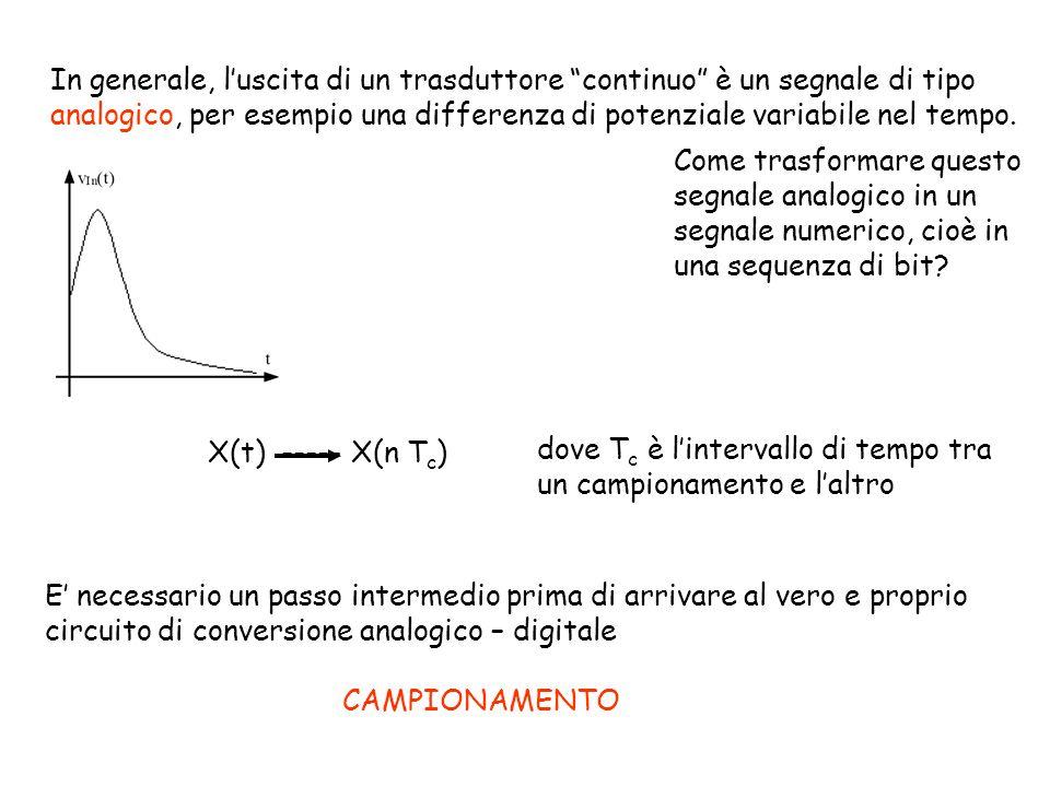 In generale, l'uscita di un trasduttore continuo è un segnale di tipo analogico, per esempio una differenza di potenziale variabile nel tempo.