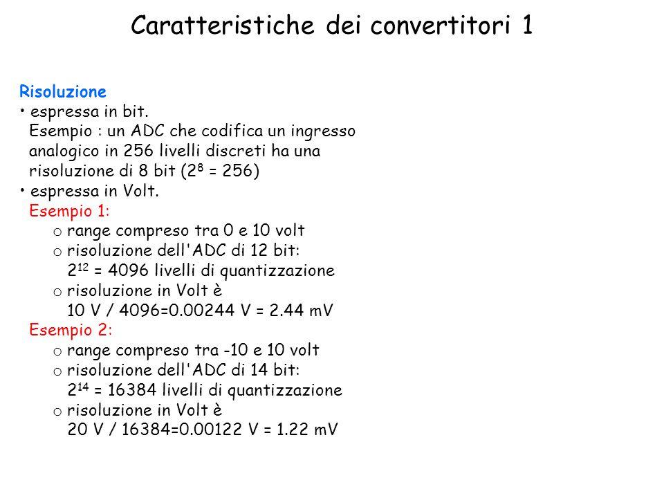 Caratteristiche dei convertitori 1 Risoluzione espressa in bit.