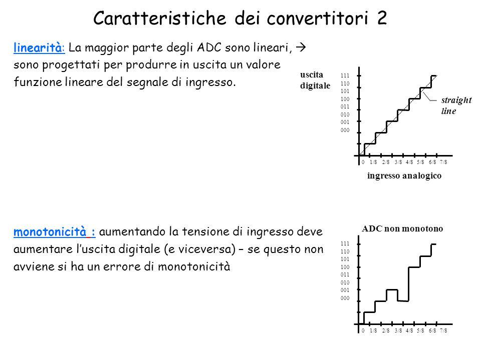 Caratteristiche dei convertitori 2 linearità: La maggior parte degli ADC sono lineari,  sono progettati per produrre in uscita un valore funzione lineare del segnale di ingresso.