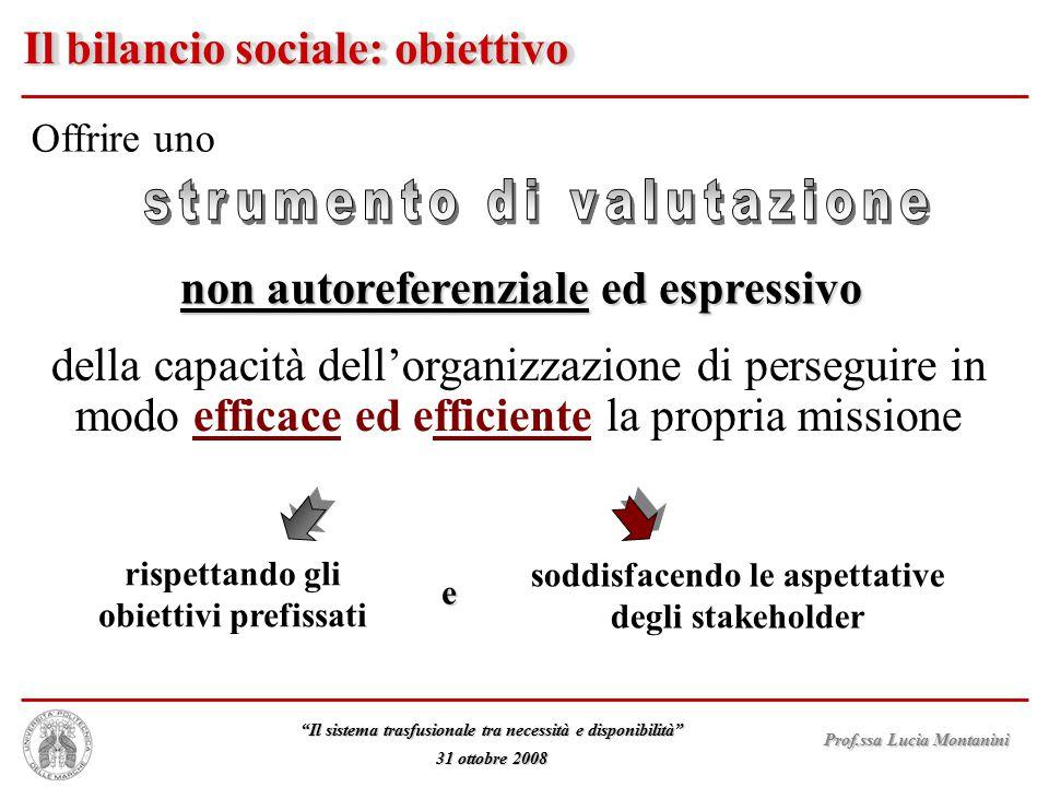 """Prof.ssa Lucia Montanini """"Il sistema trasfusionale tra necessità e disponibilità"""" 31 ottobre 2008 Il bilancio sociale: obiettivo Offrire uno non autor"""